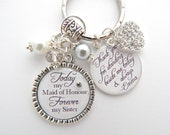My SISTER My BEST FRIEND Maid of Honor  Sister of the Bride Wedding Quote Grey polka dot Jewelry Mother of the bride Gift Sister In-Law