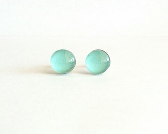 Aqua Stud Earrings, Aqua Earrings, Beach Jewelry, Best Friend Earrings, Dainty Stud Earrings, Sensitive Ears, Gift Under 20