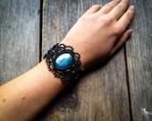 Boho chic Macrame bracelet with big labradorite stone gothic bohemian jewelry by Creations Mariposa