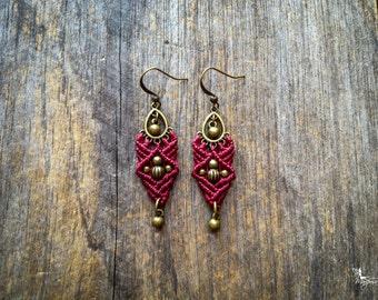 Macrame earrings little gypsy micro macramé boho bohemian gypsy ethnic women jewelry by Creations Mariposa
