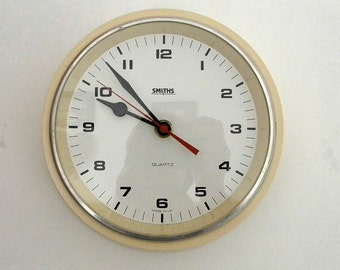 Smiths Deep Wall Clock - Recycled Battery Operated - Kitchen Clock - Yellow Smiths Wall Clock