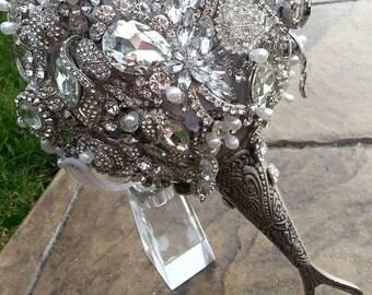 Brooch Bridal Bouquet - Rhinestone - Keepsake - Handmade -