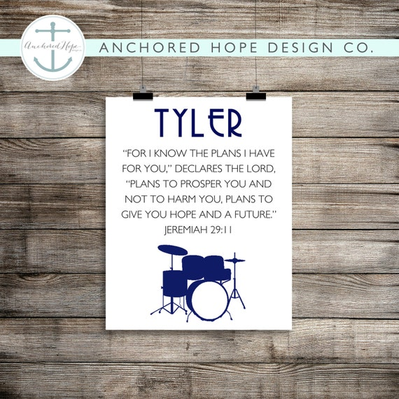 """Jeremiah 29:11 """"For I know the plans I have for you..."""" Drums - Kids Bedroom Artwork - Nursery Print - Print it Yourself JPG - PIY"""