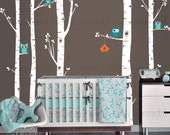 Birch Tree Decal, Owls and Birch Tree Forest Wall Decal, Birch Forest, Birch Tree Owl Wall Vinyl for Nursery, Kids or Childrens Room 006