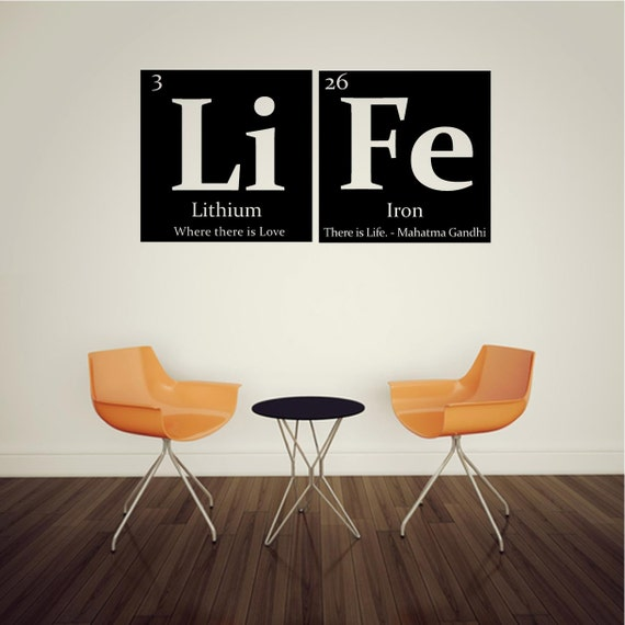 Periodic table of elements LIFE Vinyl wall decal - with Gandhi quote