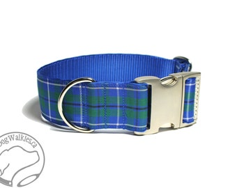 "Ancient Douglas Clan Tartan Dog Collar - 1.5"" (38mm) Wide - Green and Blue Plaid - Wide Martingale or Side Release -Choice of style and size"