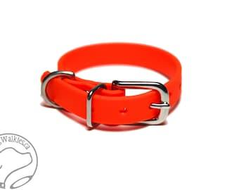 "Neon Orange Blaze Little Dog Collar - 1/2"" (12mm) Thin Biothane Dog Collars - Waterproof Small Dog Collar"