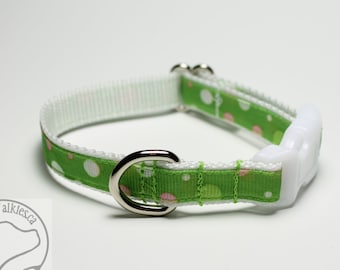 """Happy Fun Dots on Lime // Small Dog Collar // 1/2"""" (13mm) wide // Your choice of style, size and color // White // Green // Black"""