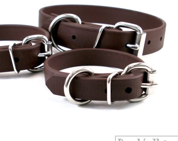 "Featured listing image: Dark Chocolate Brown 5/8"" - 16mm - Beta Biothane Dog Collar - Leather Look and Feel - Adjustable Custom - Stainless Stee"