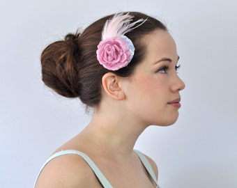 Mini Fascinator with Pink Rose and Feathers In Pastel Shades