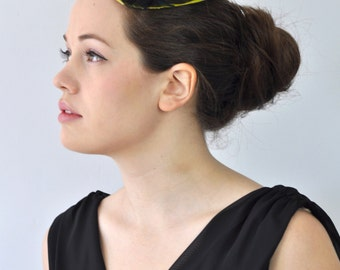 Electric Lime Fascinator Hat with Shimmering Black Feathers