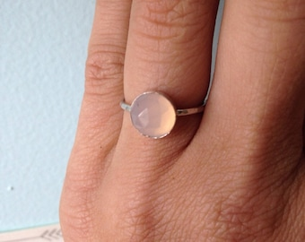 8mm Faceted Pink Chalcedony and Sterling Silver Stacking Ring - custom made to size