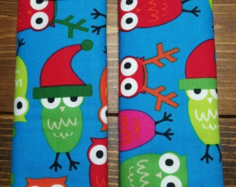 Reversible Ann Kelle Jingle Owls on Blue with Lime Green Dimple Cuddle Minky Baby Unisex Christmas Holiday Car Seat Strap Covers ITEM #029