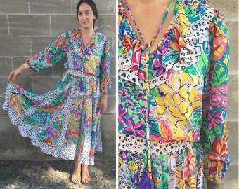vibrant leopard & floral print peasant dress