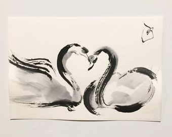 ink art, Swan art, Bird art,illustration, Swan painting, animal art, Bird painting, mini painting, bird ink art,mini art, ink bird