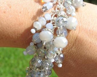PERIWINKLE FROST Color Study Crystal Charm Bracelet ooak