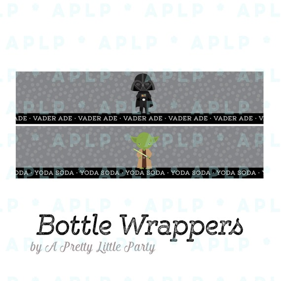 Star Wars Bottle Wrappers - Digital files - New Star Wars Party Supplies - INSTANT DOWNLOAD