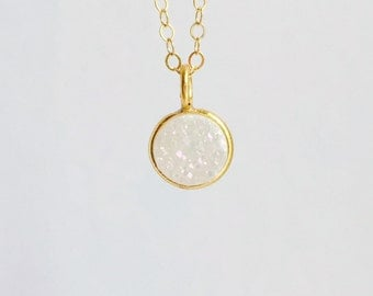 Small Gold Druzy Necklace, White Druzy Necklace, 14k Gold Filled Chain, White Rainbow Druzy Charm, Dainty Necklace, Drusy Charm Necklace