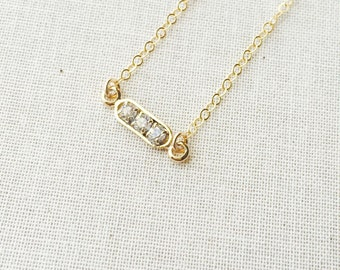 Mini Bar Necklace in 14k Gold Filled Chain, Crystal Bar Necklace, Dainty Necklace, Birthday Gift, Best Friend Gift, Short Bar Necklace