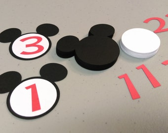 30 Mickey Mouse Heads With Number, DIY Cupcake Toppers, Birthday Party Decorations