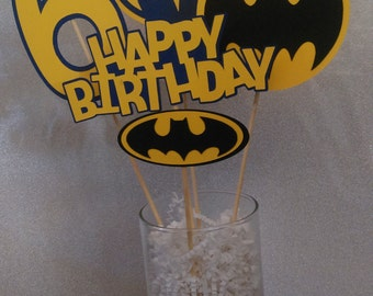 Batman Centerpiece, Batman Yellow, Black and Blue Centerpiece for Birthday Party, Party Decorations