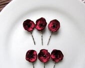 "6 Tiny Small Red Flower Hair Pins Wedding 1"" Red Bridal Hair Flowers, Dark Red Silk Flowers for Bride Hair, Mini Rose Hairpin, Floral Bobby"