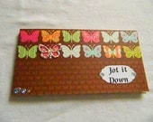 Handmade Note Pad with book style cover brown with silver holographic butterfly