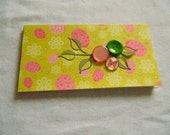 Handmade Note Pad with book style cover green pink lady bugs buttons
