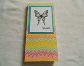Handmade and Hand stamped note pad book style covered in chevron