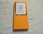 Handmade and Hand Stamped notepad with book style cover in melon