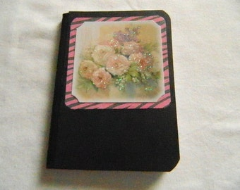 Mini Altered/Covered Composition Book flowers sparles
