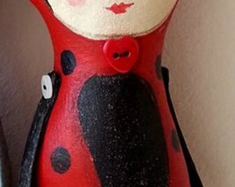 Ladybird art doll, art doll, fairytale ladybird, Ladybug art doll.