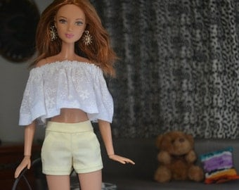 Cool Yellow City Shorts for 12in Fashion Dolls