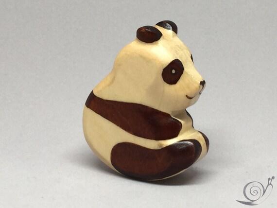 Toy Panda wooden Baby black white colourful Size: 7,5 x 6,5 x 2,0 cm (bxhxs)  approx. 25,5 gr.