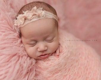 Newborn Headband - Newborn Photo Prop: Newborn Tieback, Newborn Flower Crown, Newborn Halo, Organic Photography Props, Pink, Silk, Pretty