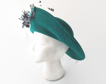 Vintage Hat Breton Style Teal Green with Black Beaded and Sequined Embellishment 1960s
