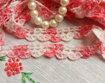"""Hand Crocheted Pink and White Lace, 6 1/2 yd x 1/2"""""""