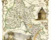 Oxfordshire 1840. Antique map of the County of Oxfordshire, England by Thomas Moule - MAP PRINT