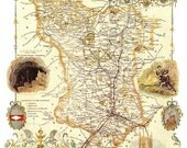 Derbyshire 1840 - Antique map of the County of Derbyshire by Thomas Moule - MAP PRINT