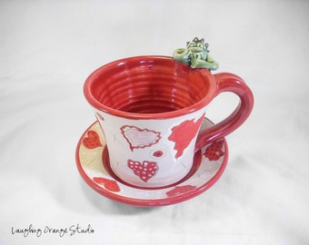Frog Prince Valentine Mug and Saucer Set with a Variety of Hearts