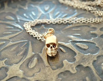 24k Gold Skull necklace Tiny Skull Necklace Gold Skull Pendant 14k Gold filled Necklace Tiny Gold Skull Sterling Silver Skull Necklace