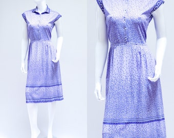 SALE Vintage Day Dress >> 1970s Geometric Patterned Sleeveless Dress >> Small / UK 8 10 / Euro 36 38 / US 4 6