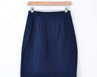 Vintage 1980s 80s Navy Smart Office Work Lined Summer Pencil Skirt Small UK 8