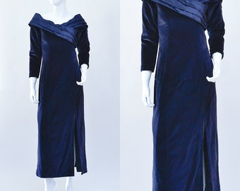SALE Vintage Evening Dress >> 1980s 80s Slate Blue Lined Velvet Long Maxi Party Red Carpet >> Small / UK 8 / Euro 36 / US 4