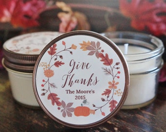 Set of 12 - 4 oz. Thanksgiving Favor Candle//Thanksgiving Table Decor//Personalized Thanksgiving Gift//Thanksgiving Decoration//Soy Candle