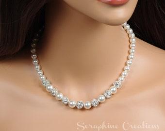 Pearl Necklace, Wedding Pearl Necklace, Wedding Jewelry, Bridal Pearl Necklace, Swarovski Pearl Rhinestone White Cream Bridesmaid Gift N01