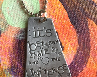 Hand Stamped Jewelry It is between me and the universe Hand Made Jewelry with Meaning custom Quote Trust the Process Gypsy Soul Sister