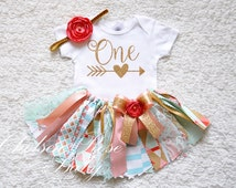 Pink Mint Gold Coral 1st Birthday Girl Outfit 1st Birthday Outfit Baby Tutu Baby Girl 1st Birthday Outfit Cake Smash Girl Outfit Fabric Tutu
