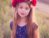 Fall Red Rose Flower Crown - Flower Crown - Silk Flower Headband - Flower Halo - Dainty and Dapper