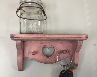 Hand Painted Wall Shelf and Hanger in Pink with Heart Design
